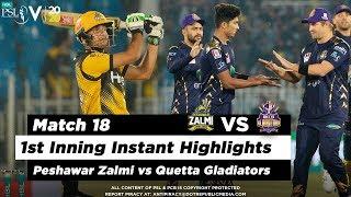 Peshawar Zalmi vs Quetta Gladiators | 1st Inning Highlights | Match 18 | 5 March | HBL PSL 2020