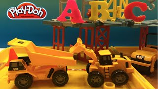 Learn the ABC and Colors with PlayDoh and Caterpillar Mighty Machine Construction Set