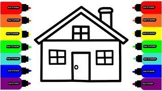 Рисуем ДОМИК Раскраски Для Малышей // Draw the HOUSE Coloring For Kids