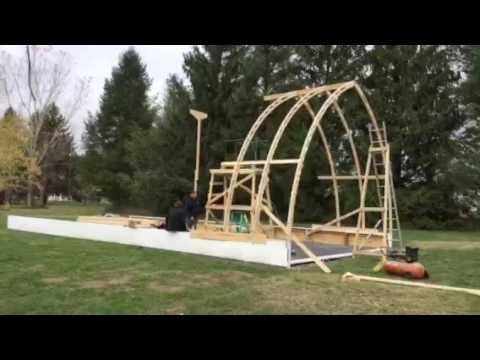 Bow roof boat shed with gothic arch truss time lapse part for Bow roof shed