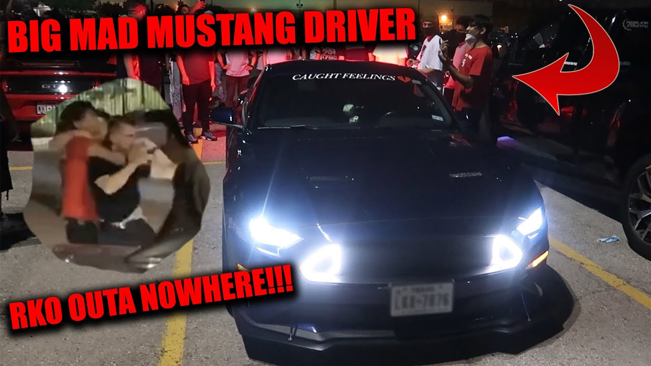 CAR SHOW TURNS INTO WWE MATCH WHEN TRIGGERED MUSTANG OWNER ATTACKS BIKER!!!