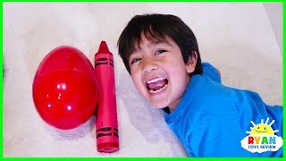 Download Ryan Pretend Play and Learn Colors with Giant Crayons Egg Surprise Toys! Mp3 and Videos