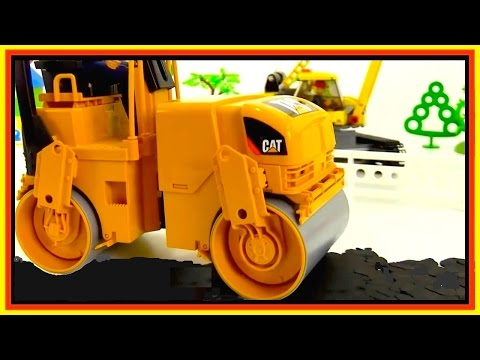 HOT TARMAC! Road Roller Toy Videos for Kids.Toy Cars for Children.LEGO Toy Car Collection
