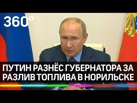 Путин разнёс губернатора Красноярского края из-за разлива топлива в Норильске