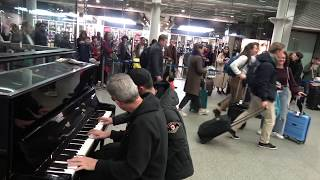 Two Guys Leave The Queue To Jam Classical Piano