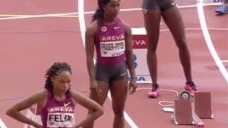 2014 Diamond League Paris women 200m - Okagbare nips Allyson Felix in 22.32