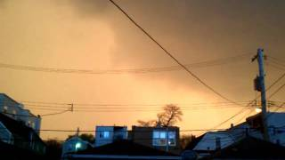 Crazy orange sky before storm.