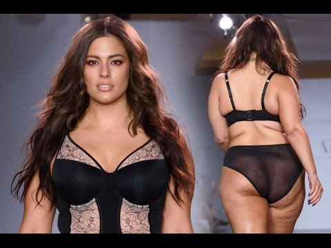 Download Ashley Graham showcases her curves in black lace underwear on the runway at New York Fashion