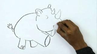 How to Draw a Cute Rhino