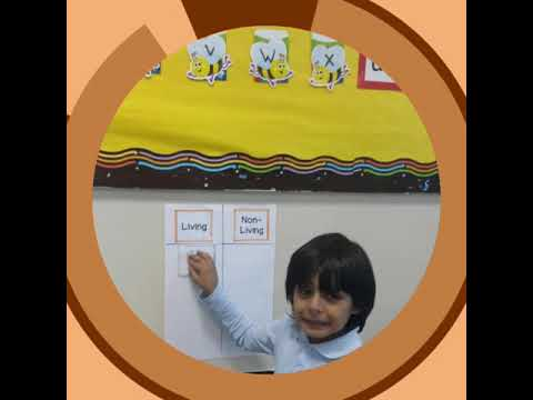 "Grade 1 ""Living and nonliving"" classification activity in Riyadh International School"