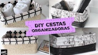 DIY: CESTAS ORGANIZADORAS DE CORDA E MANGUEIRA | Organize sem Frescuras!