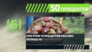 Сколько процентов россиян не употребляют грибы впищу?
