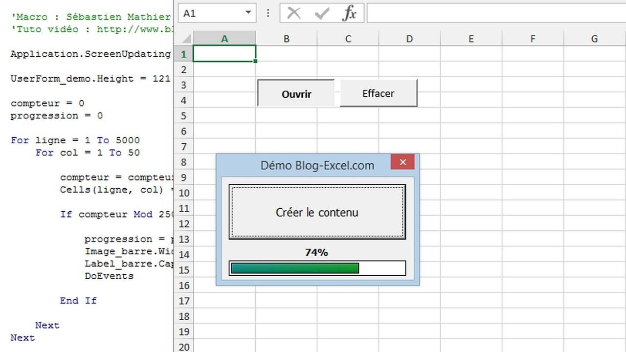 Excel cr er une barre de progression en vba funnycat tv for Ouvrir plusieurs fenetre excel