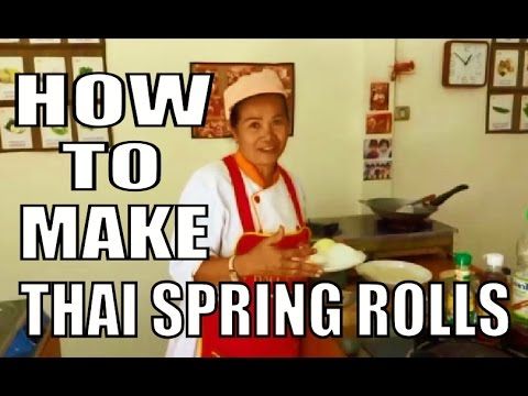 Thai Spring Rolls Happy home Thai cooking school Pattaya Thailand.