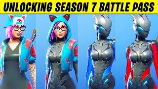 UNLOCKING the SEASON 7 BATTLE PASS (Fortnite 100% Unlocked Tier 100)