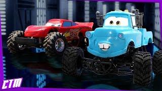 Disney Pixar CARS Monster Truck Mater & Lightning McQueen : BMX track jumps & stunts R/C action!!!