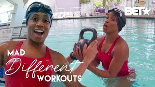 Can Capri Curves Keep Up With These Fat Burning Pool Exercises?! | Mad Different Workouts