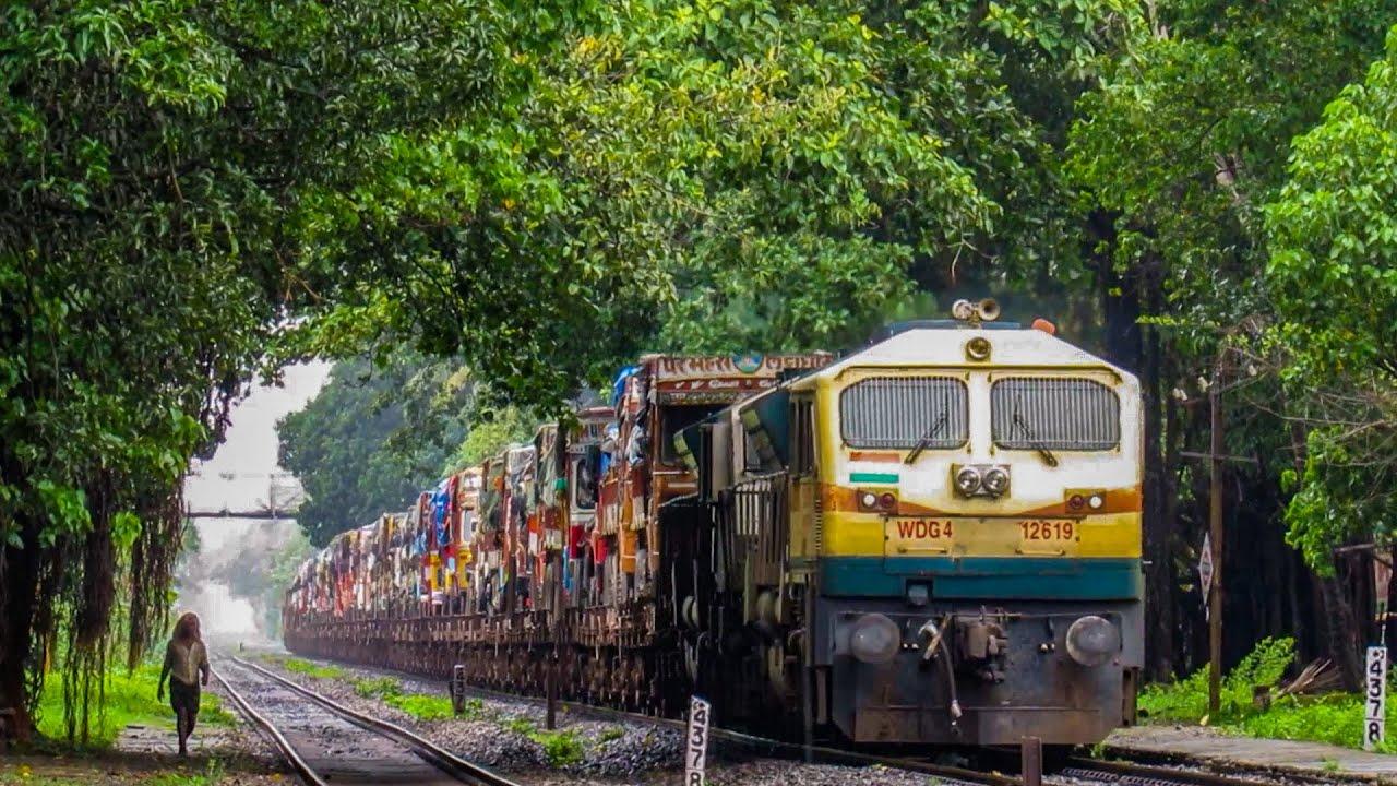 The Serene Past | Ro-Ro Train through Un-electrified Suravali Canopy