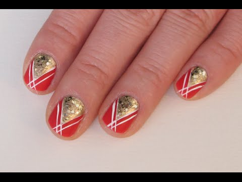 Red Gold Glitter Nail Art Youtube