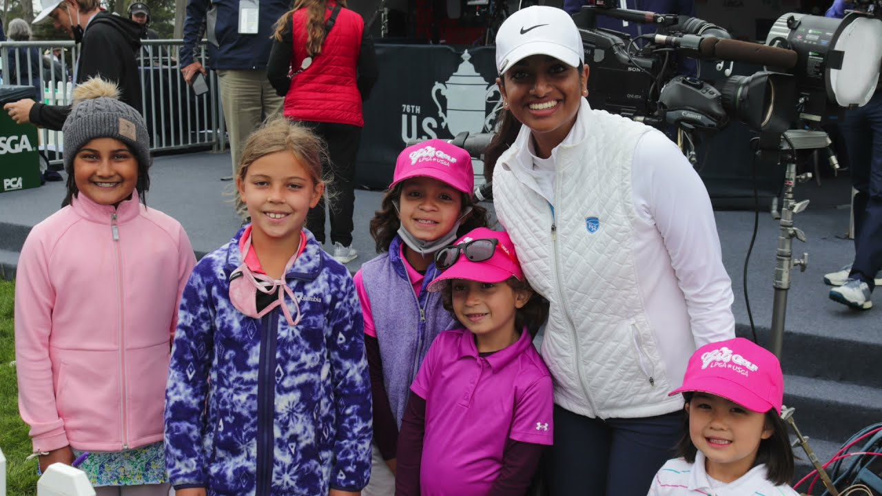 Megha Ganne with Girls Golf members at the U.S. Women's Open