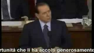 Italian prime minister silvio berlusconi having a speech with the american parliament few years ago.his english is absolutely wonderfull as once george bush ...