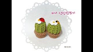 [코바늘소품]미니 선인장뜨기/선인장뜨기/crochet[…