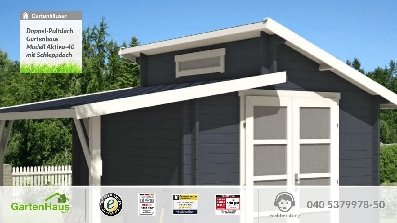 doppel-pultdach gartenhaus modell aktiva-40 mit schleppdach - youtube
