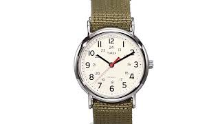 Timex Unisex T2N651 Weekender 38mm Olive Nylon Slip Thru Strap Watch Timex Watches
