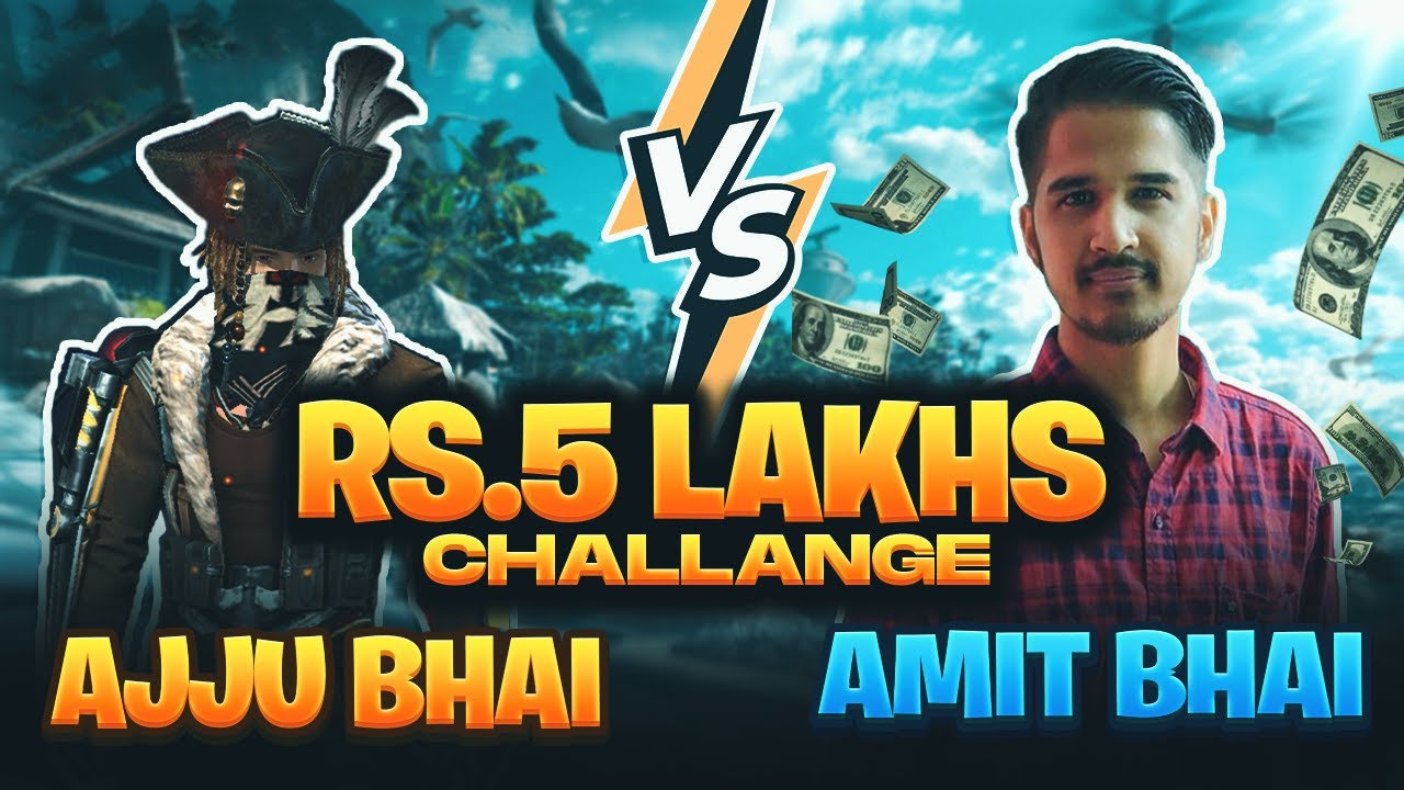 RS 5 Lakh Challenge Ajjubhai vs Amitbhai (Desi Gamer) Who Will Win - Garena Free Fire
