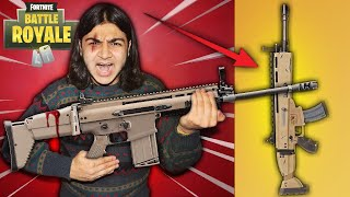 FORTNITE WEAPONS IN REAL LIFE CHALLENGE! | DIY FORTNITE WEAPONS (SHOTGUN, SCAR, AND ROCKET LAUNCHER)