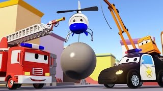 The Car Patrol: FIRE TRUCK and POLICE CAR and The Crane disappearance in CAR CITY | Cars cartoon