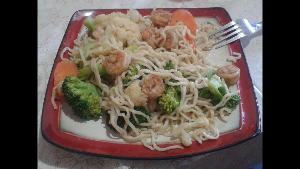 Chow mein con camarones comida china facil y rapido by - Que hago de comer rapido y sencillo ...
