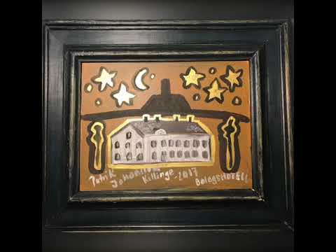 House painting in acrylic with gold effect,Gold Painting,Gold platter.Lkab hotell in Malmberget