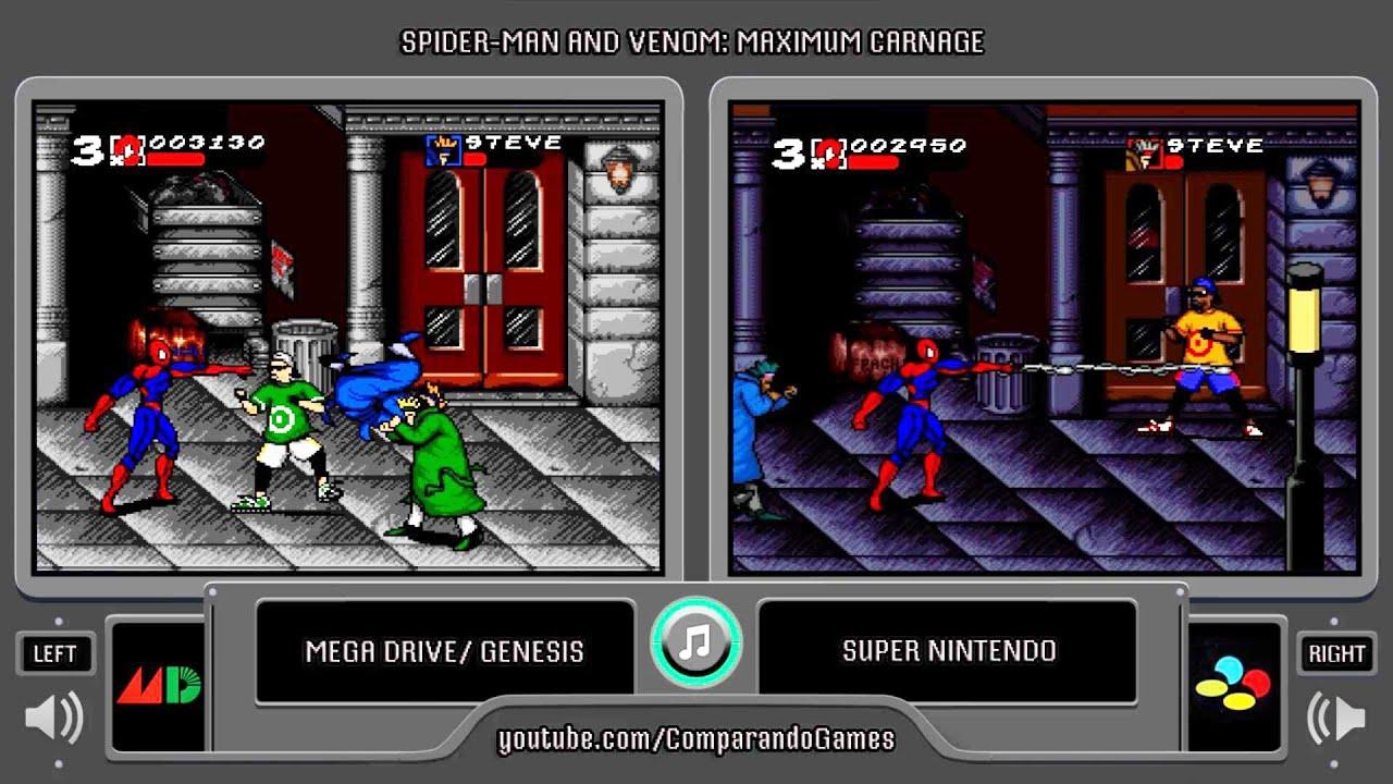 Maximum Carnage Sega Genesis Vs Snes Side By Side Comparison Youtube