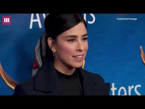 Sarah Silverman wears pea coat coat & lace-up boots to WGAs