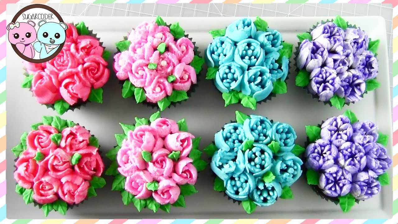 RUSSIAN PIPING TIPS: FLOWER CUPCAKES, FLOWER CAKE   SUGARCODER   YouTube