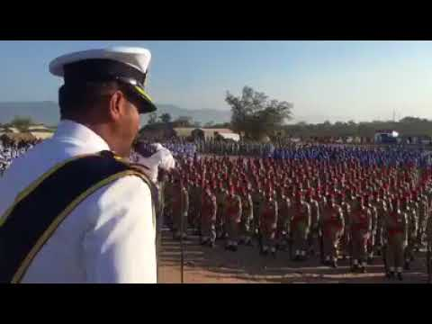 Pakistan Navy Officer addressing the parade participants before the parade