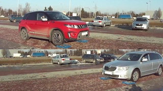 Skoda Superb MT 4x4 vs Suzuki Vitara S AT 4x4- diagonal side front test on rollers