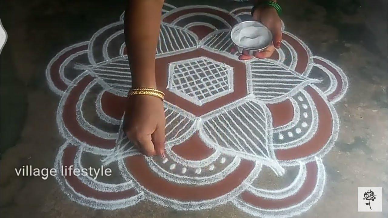Aani matham special//  Kollam//pandaga muggulu// easy rangoli //village lifestyle//32
