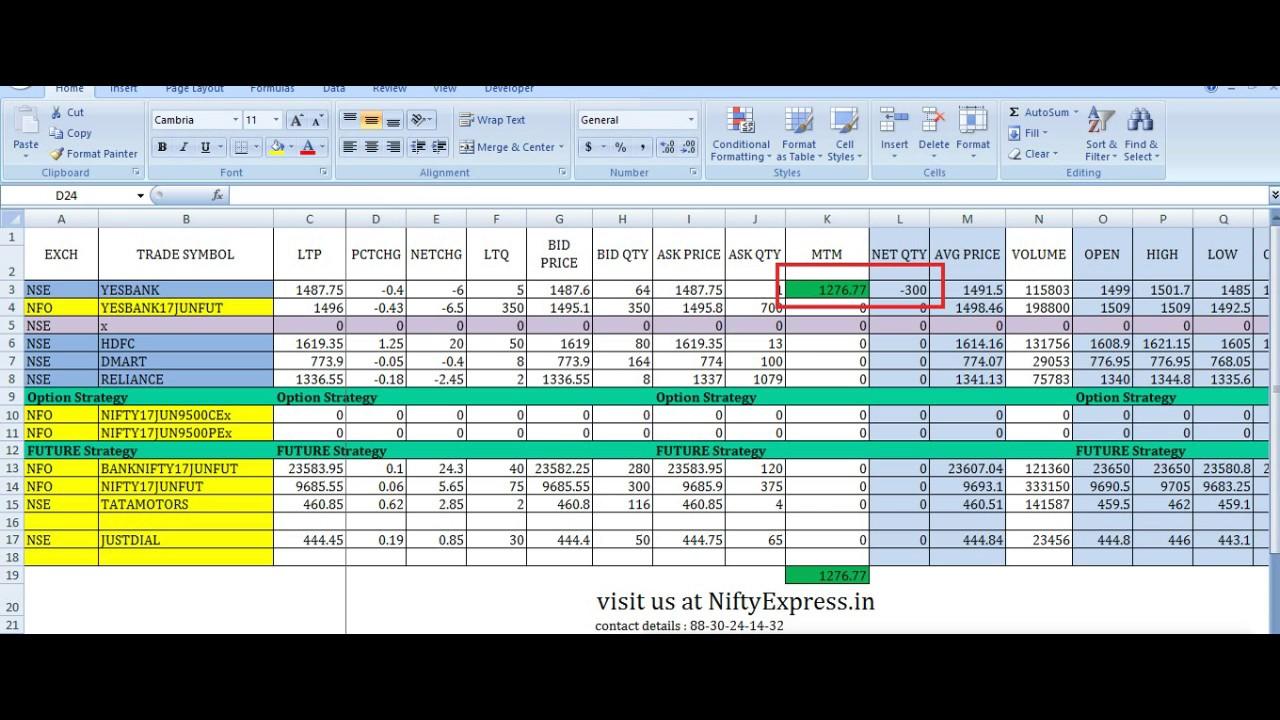 Stock market Intraday Excel based Algo trading on Zerodha or