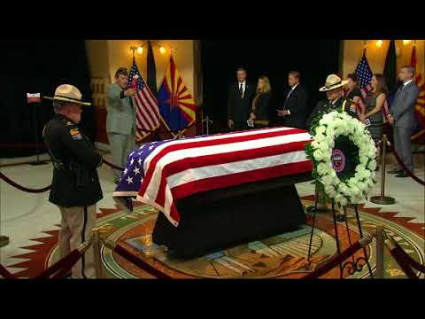 Arizonans braved the heat Wednesday for a chance to pay their last respects to the late Senator John McCain. Wednesday would have been McCain's 82nd birthday. He died Saturday of an aggressive form of brain cancer. (The Associated Press)