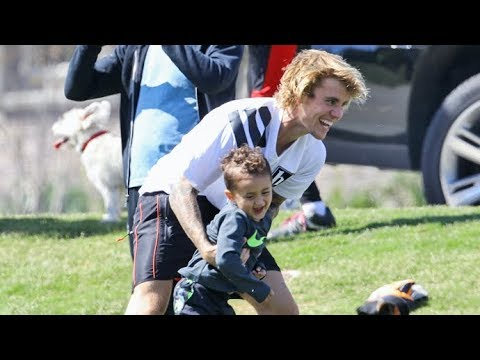 Adorable! Justin Bieber Shares A Cute Moment With A Kid While Playing Soccer In L.A.