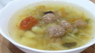 Вкусный и ароматный суп с фрикадельками, картофелем и капустой