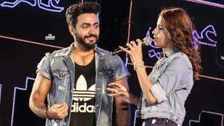 فتاه تغير اغنية تامر حسني امامه علي الاستيدج من حفل جولف بورتو مارينا 2017