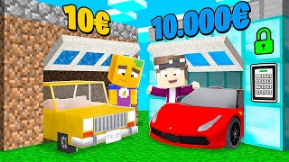 1€ ARME Garage vs. 10.000€ REICHE Garage in Minecraft!