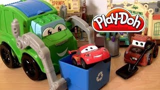 Play Doh Trash Tossin Rowdy the Garbage Truck Dumping Micro Drifters Lightning McQueen Disney Cars