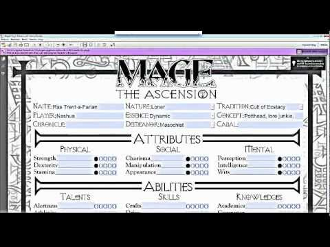 Mage The Ascension Pt1 Character Creation Youtube