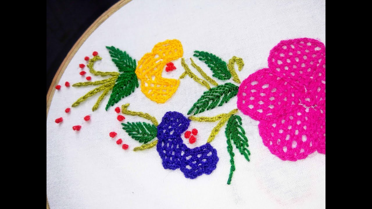 Hand Embroidery Net Stitch Design Video Tutorial By Nakshi Katha