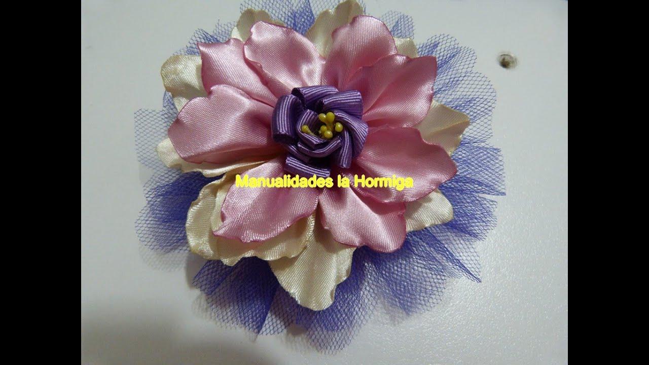 Como hacer hermosas flores grande de liston raso beautiful - Material para hacer diademas ...