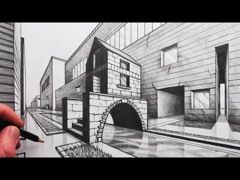 how-to-draw-2-point-perspective:-draw-a-arched-bridge-in-a-city